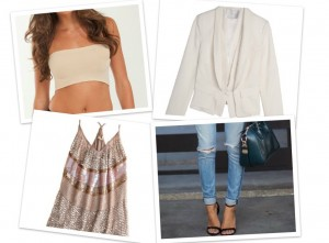 Bandeau: SNUG Apparel Blazer: Holt Renfrew Embellished Top: TopShop Jeans: J Brand Shoes: Zara