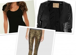 Basic Tee: SNUG Apparel Leather Blazer: BCBG MaxAzria Sequin pants: BCBG MaxAzria