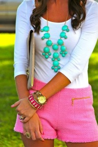 Top: SNUG Apparel Necklace & Shorts: J. Crew (SNUG Apparel does not own the rights to this photo)